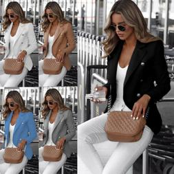 Womens Collar Suit Thin Jacket Coat Ladies Double Breasted B