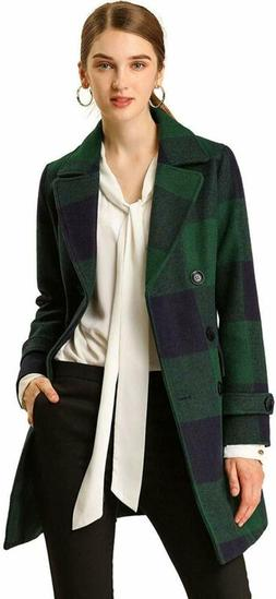 Allegra K Womens Double Breasted Notched Lapel Winter Long P