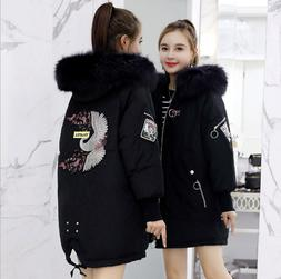 Womens Embroidery Hooded Real Fur Collar Down Coats Parkas T