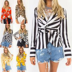 Womens Floral Striped Casual Suit Blazer Business OL Wrap Ca