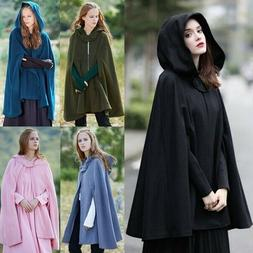 Womens Hooded Batwing Sleeve Wool Coat Winter Solid Color Sh