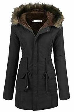 Beyove Womens Hooded Warm Winter Coats with Faux Fur Lined L