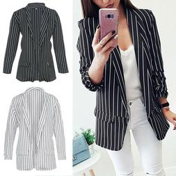Womens Ladies Long Sleeve Waterfall Casual Striped Blazer Ja