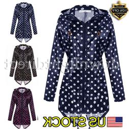US WOMEN LADIES POLKA DOT SPOTTED WATERPROOF RAIN COAT JACKE