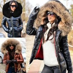 Roiii Womens Long Down Coats Hooded Parka Puffer Padded Jack