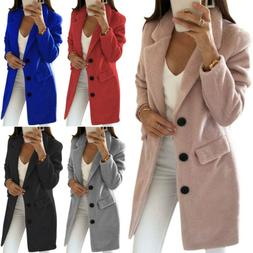 Womens Long Sleeve Duster Warm Coats Jacket Ladies Winter Wa