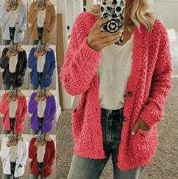 Womens Long Sleeve Fleece Fluffy Cardigan Sweater Pocket Coa