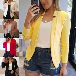 Womens Long Sleeve Open Front Outwear Business Blazer Short