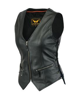 Womens Motorcycle Leather Vest Genuine Cowhide Leather Black