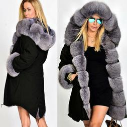 Roiii Womens New Long Thick Fur Collar Hooded Jacket Slim Pa