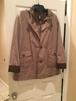 Women's Gallery Petite Nordstrom Taupe Lined Hooded Jacket