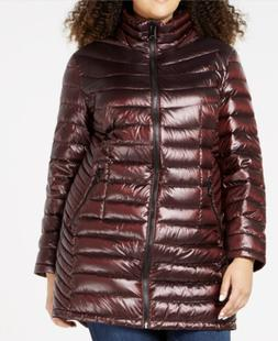 Calvin Klein Womens Plus Size Hooded Puffer Coat