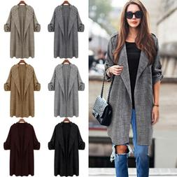Womens Plus Size Long Trench Jacket Duster Coat Ladies Blaze