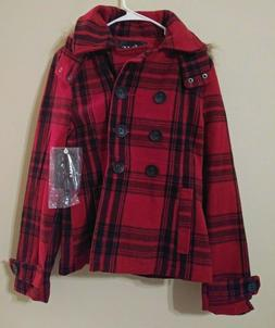 YMI Womens Red Black Plaid Hooded Lined Winter Coat Jacket F