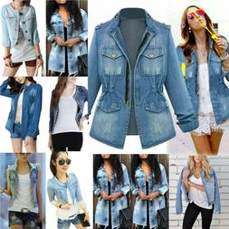 Womens Ripped Frayed Long Sleeve Denim Jacket Jeans Cropped
