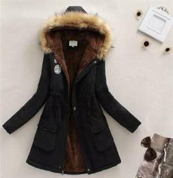 Womens Warm Long Coat Fur Collar Hooded Jacket Slim Winter P