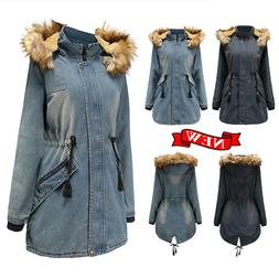 Womens Warm Winter Hooded Long Coats Jacket Denim Overcoats