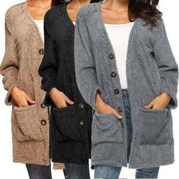 Womens Winter Coat Fleece Fur Cardigan Fluffy Long Jacket Wa