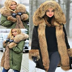 Roiii Womens Winter Long Coat Maxi Parka with Fur Trimmed Ho