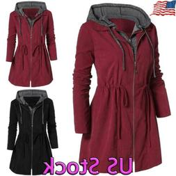 Womens Winter Warm Hooded Coat Parka Jacket Trench Outwear L