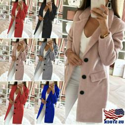 Womens Winter Wool Lapel Long Coat Elegant Trench Parka Jack