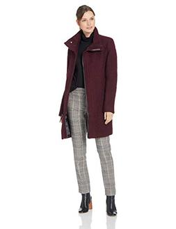 Calvin Klein Women's Wool Coat with Tunnel Collar and pu Tri