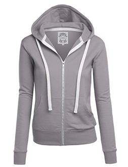 Made By Johnny WSK954 Womens Active Fleece Zip Up Hoodie Swe